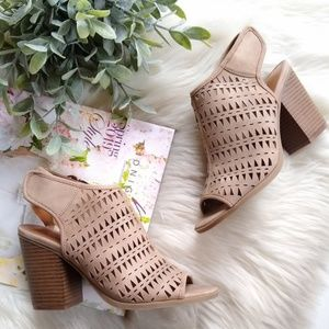 INDIGO RD • perforated open toe taupe booties